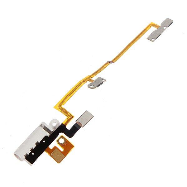 White Headphone Audio Jack Power Volume Flex Cable For iPod Nano 6