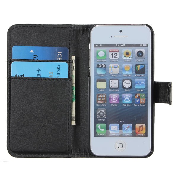 Card Flip Folio Pouch Wallet Leather Case Cover For iPhone 5 5G 5th