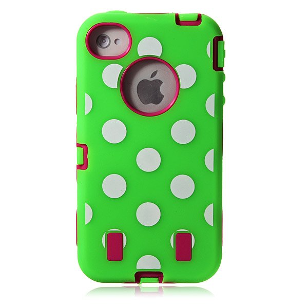 Polka Dots Combo Hard Rugged Rubber Case Cover For iPhone 4 4S