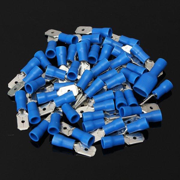 100pcs Male + Female Blue Semi Insulated Spade Crimp Connectors