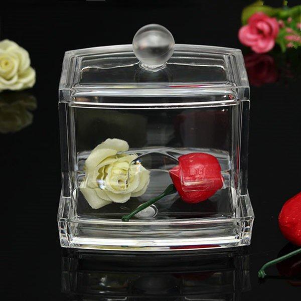 Crystal Acrylic Cotton Swab Organizer Lathy Article Storage Box