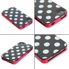 Stylish 3 in 1 Pink White Polka Dots Hard Cover Case for iPhone 4S