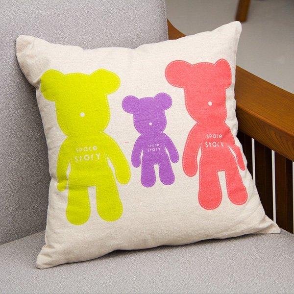 Linen Bear Throw Pillow Case Sofa Cushion Cover Home Decor