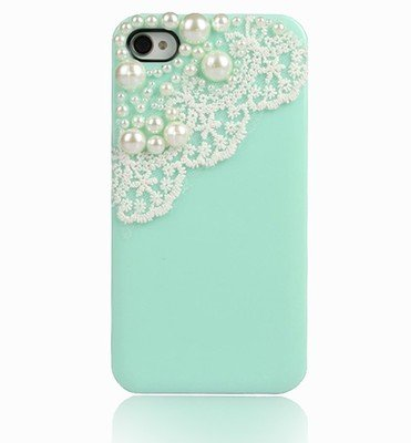 Cute Pearl Lace Ice Cream Hard Case Screen Protector For iPhone 4 4S