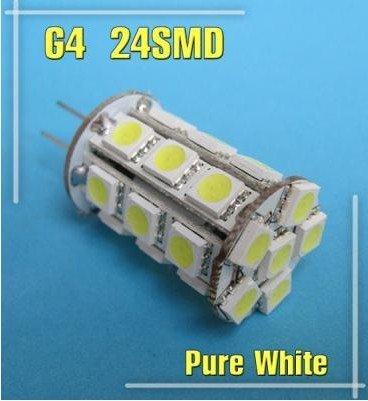 G4 24 SMD 5050 LED Warm White Marine Car light Bulb 280LM 4.8W DC