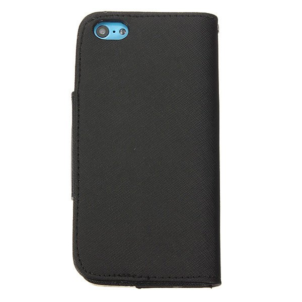 Cross Grain PU Leather Protector Stand Case Cover For iPhone 5C