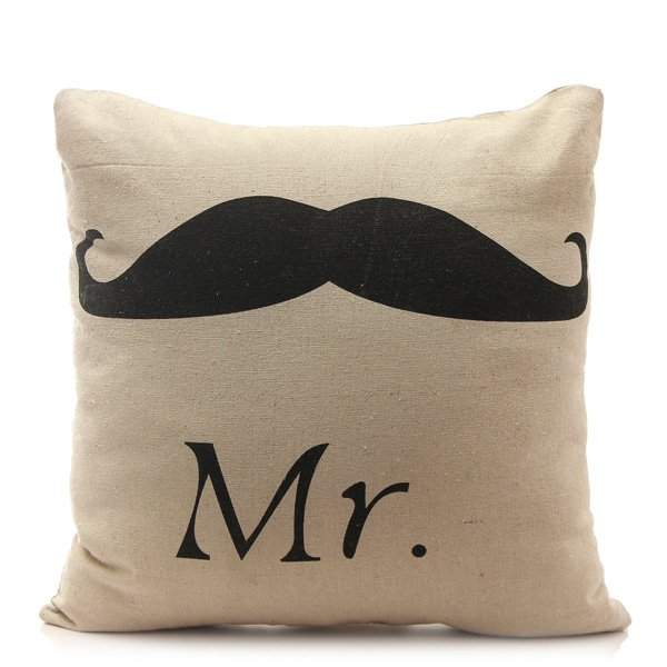 Retro Mr Mustache Mrs Lip Pillow Case Cushion Cover Wedding Gift