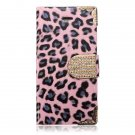 Crystal Diamond Leopard PU Leather Card Slot Case For iPhone 5 5S