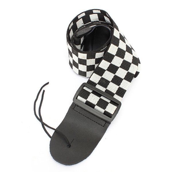 Guitar Strap Black & White Checkerboard Nylon Leather