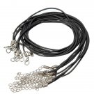 10pcs 2mm PU Leather Lobster Clasp Black Waxen Rope Necklace Chain DIY