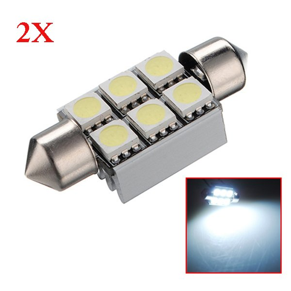 2X 36mm 6SMD 5050 Canbus Error Free Car LED Dome Bulb 6000-6500K