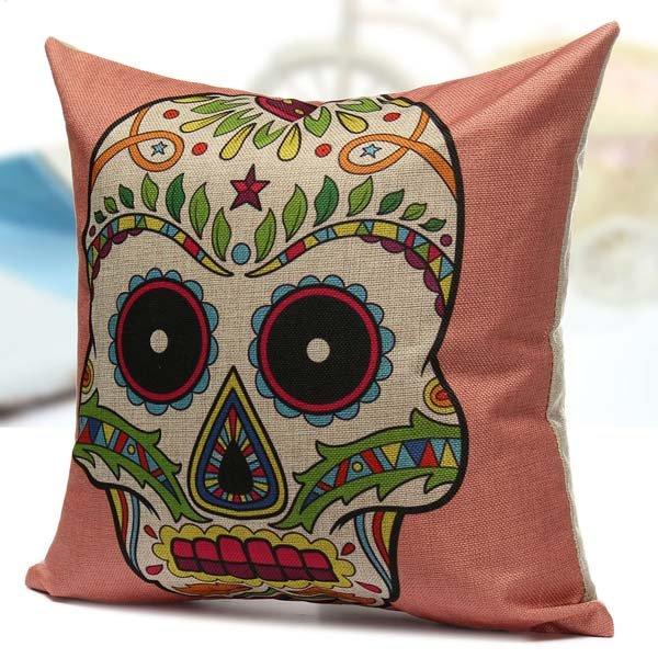 Colorful Cotton Linen Square Skull Pillow Case Sofa Back Cushion Cover