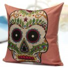 Colorful Cotton Linen Square Skull Pillow Case Sofa Back Cushion Cover