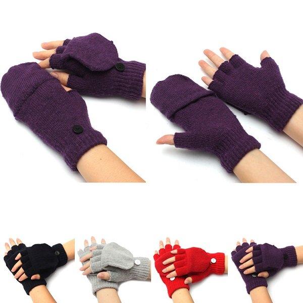 Men Woman Flip Fingerless Knitted Mitten Combo Half Finger Gloves