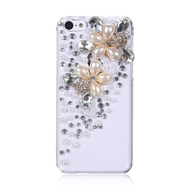 Pearl Rhinestone Diamond Crystal Bling Clear Case For iPhone 5C