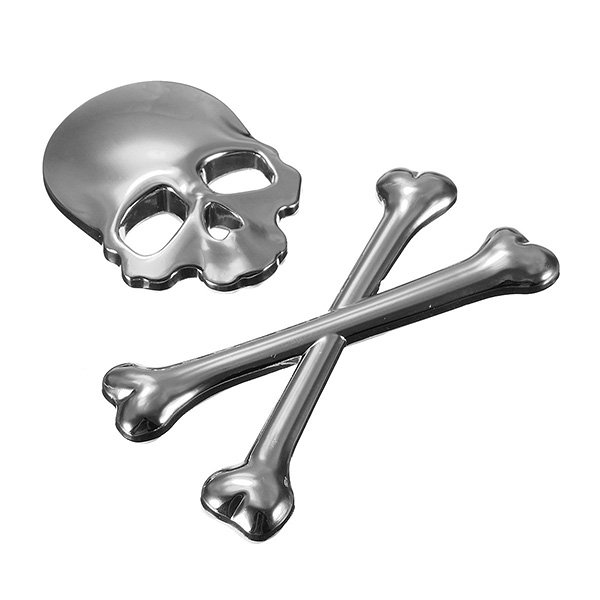 Car 3D Skeleton Skull Bone Emblem Badge Logo Metal Sticker Decal