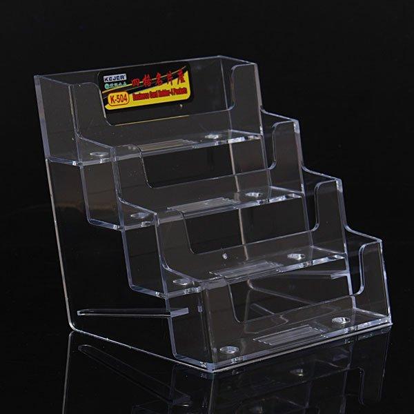 4 Pockets Clear Acrylic Business Card Holder  Desktop Office Counter
