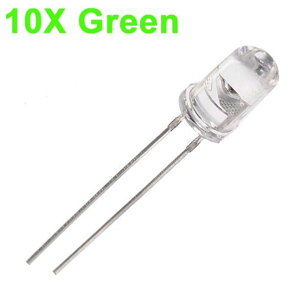 10pcs 5mm 3000-6000mcd LED Bright Decoration Torch Toy Light Green