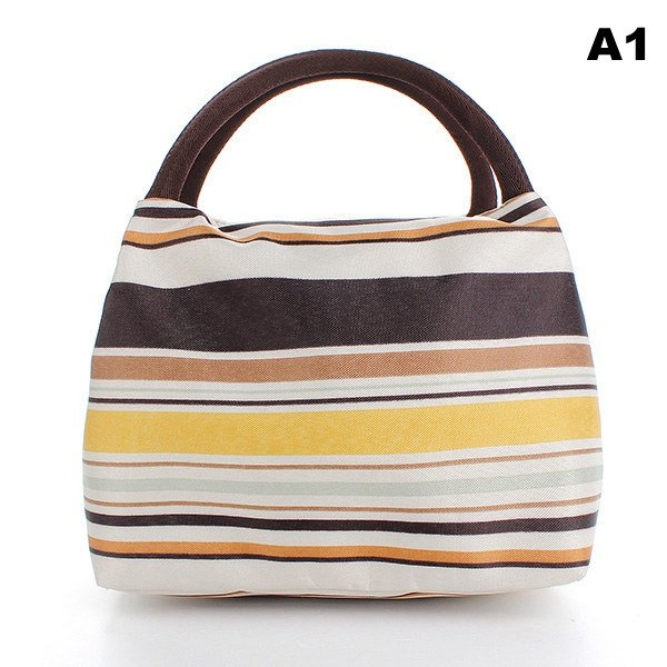 Canvas Heat Insulated Waterproof Striped Lunch Bag
