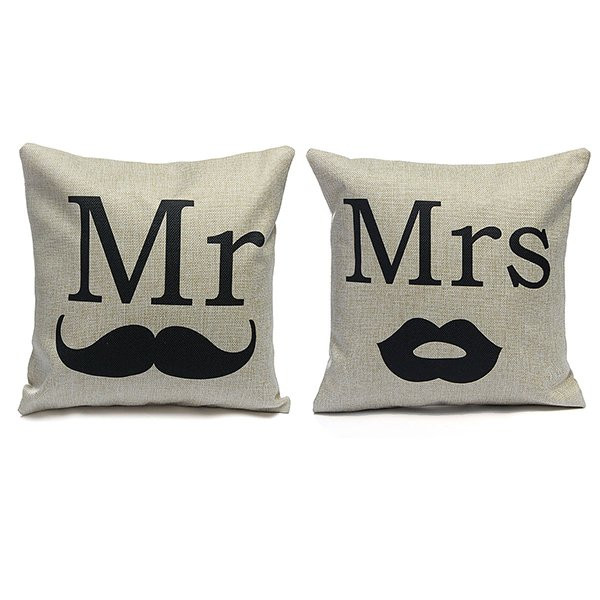 Linen Mr And Mrs Throw Pillow Case Cushion Cover Home Decor