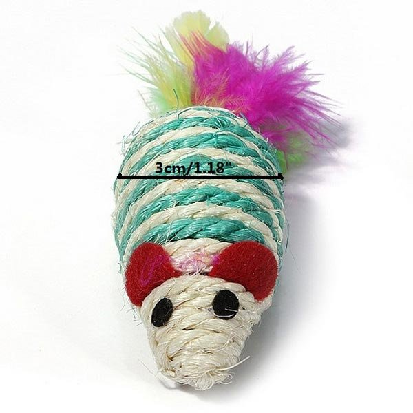 Cat Kitten Teaser Toy Sisal Rope Weave Mouse With Feather Tails