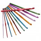 12 Multi Sizes Aluminum Plastic Handle Knitting Crochet Hooks Set