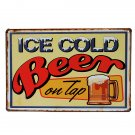 Cold Beer Sign Wall Decor Metal Plaques Vintage Decorative Painting