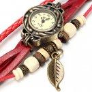 Vintage Weave leaf Leather Women Bangle Bracelet Quartz Wrist Watch