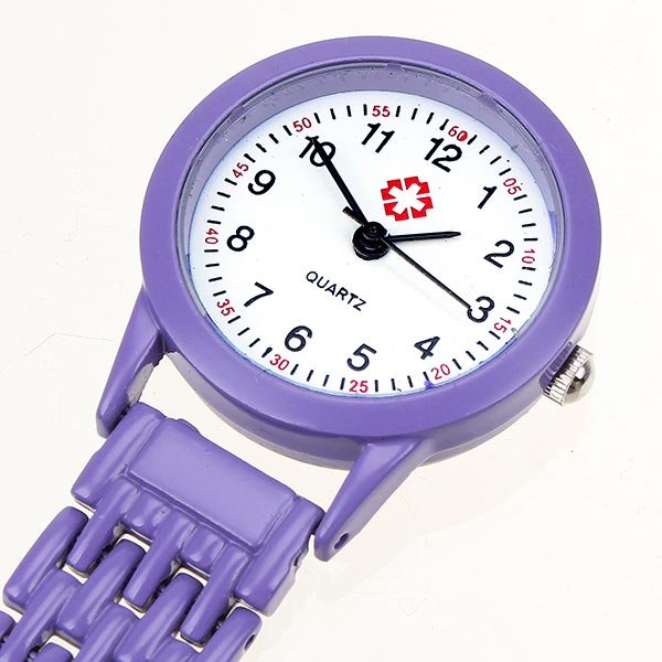 Nurse Brooch Pin Clip Stainless Steel Quartz Pocket Watch