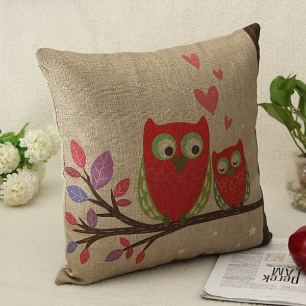 Vintage Linen Cotton Owl Cushion Cover Sofa Throw Pillow Case