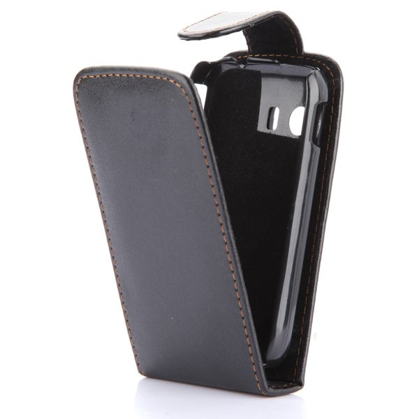 BLACK Flip PU Leather Pouch Case Cover For Samsung Galaxy Y S5360 NEW