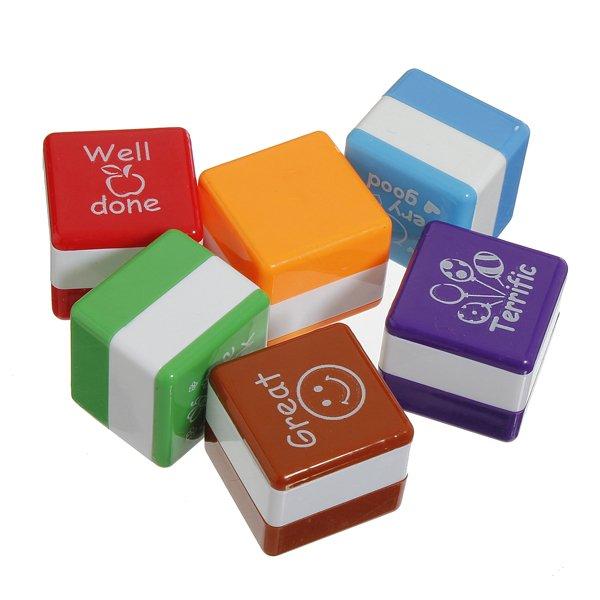 6Pcs Teacher Stamper Self Inking Reward Stamps Motivation Sticker