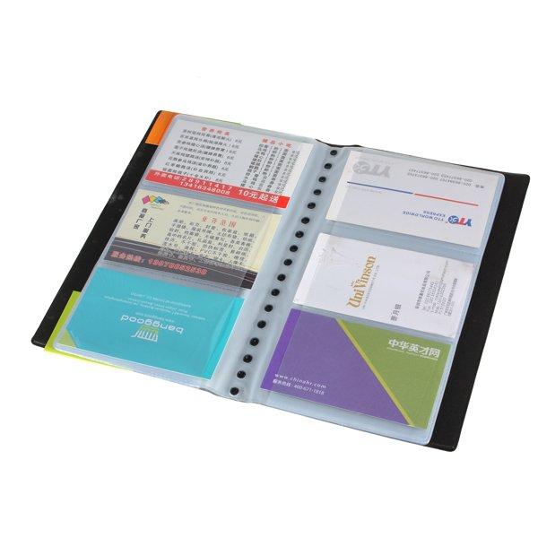 Business Name ID Credit Card Holder Book Case Organizer Black