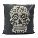 Linen Cotton Skull Pillow Covers Bed Sofa Cushion Case