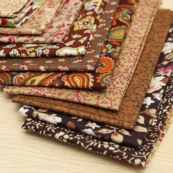 12PCS Coffee Series Cotton Patchwork Fabric DIY Quilting Cloth