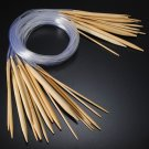 18Pcs Smooth Circular Bamboo Knitting Needle Pins Set