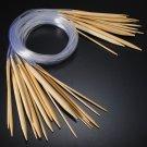 18Pcs Smooth Circular Bamboo Knitting Needle Pins Set