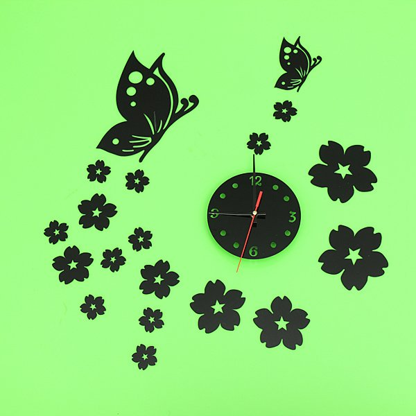 3D Mirror Wall Clock Home Decoration Butterfly Plum Clock
