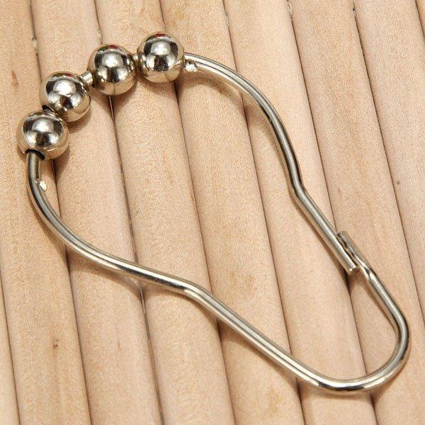 Vintage Stainless Steel Shower Bath Curtain Rings Hook