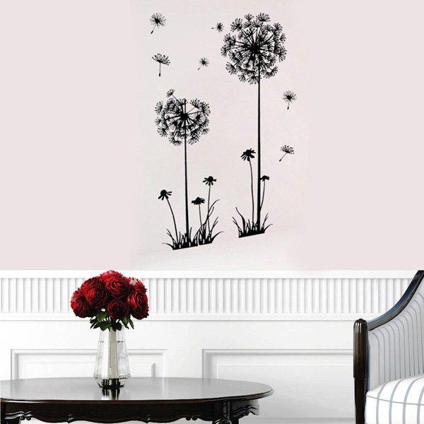 Decorative Dandelion Wall Stickers Brown Wallpaper