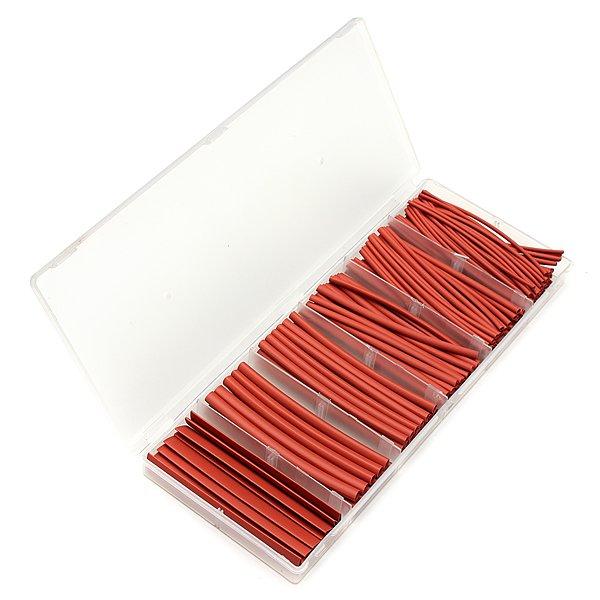 160Pcs 2:1 Polyolefin Halogen-Free Red Heat Shrink Tubing 6 Sizes