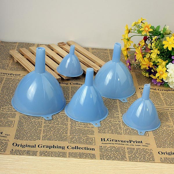 5PCS Plastic Funnel Lab Car Home Kitchen Tool