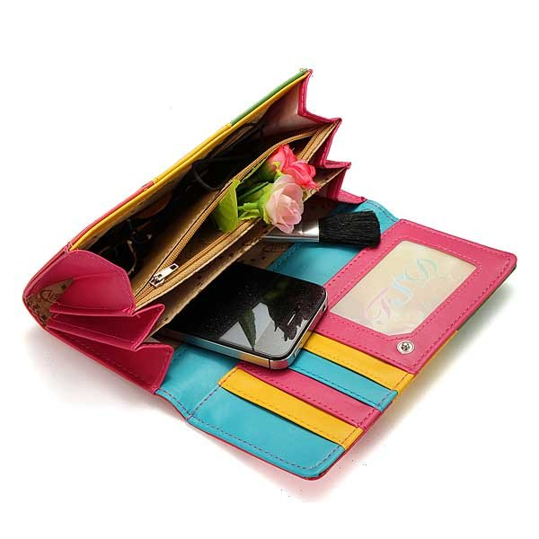 Candy Colors Lady Women Wallet PU Leather Purse Long Handbag Bag