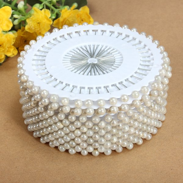 35mm 480Pcs White Round Head  Pearl Decorating Sewing Pin Craft