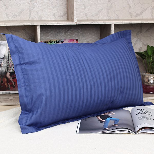 Soft Cotton Pillow Case Pure Stripe Cushion Covers Bed 45cmX75cm