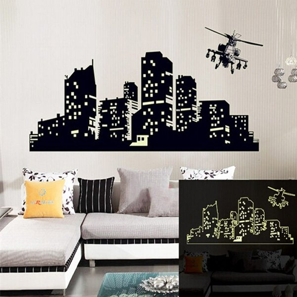 Fluorescent Glow Helicopter City Building Luminous Wall Sticker