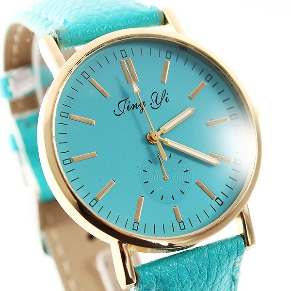 Fashion Unisex Pure Color Golden Round Dial Quartz Wrist Watch