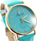 Fashion Unisex Pure Color Golden Round Dial Quartz Wrist Watch