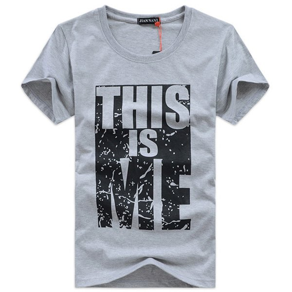 Men's Solid Color Cotton O-Neck Short Sleeve Printing T-shirts