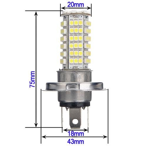 Car H4 3528 102 SMD LED White Headlight Bulb Head Light